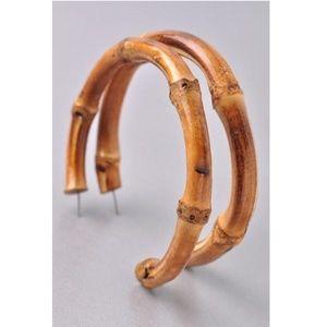 """Bamboo Hoop Earrings 2.75"""" New"""